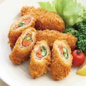 冷凍食品 業務用 ヤマガタ)豚肉野菜巻きフライ 1kg(40g×25個)    お弁当 一品 彩り 揚物 人参 さやいんげん|syokusai-netcom