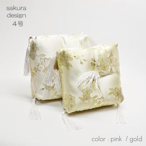 リン座布団1枚/004/4.0号/幅17cm/厚さ5cm/本手打りん4寸用/桜模様/ピンク/ゴールド/仏具|syosyudo