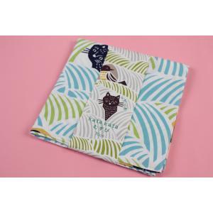 風呂敷 むす美 70cm 帯付 Kata Kata こはれ ねこととり 日本製 グリーン