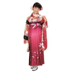 ジュニア着物 女の子 総柄 二尺袖着物(15) 長襦袢 刺繍袴(25)セット No.15(25)  卒業式や発表会に