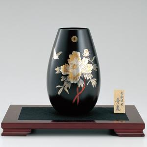 青銅製花瓶 秀麗 彫金牡丹に小鳥 木製すみれ平台10号付|syoubidou