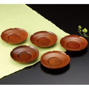 茶托 木製茶托 5枚組 梅型4寸 漆 紙箱入り|syoubidou