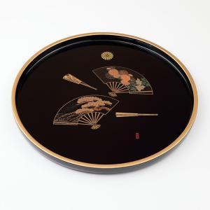 丸盆 黒 9寸 瑞扇(ずいせん) 化粧箱入り|syoubidou