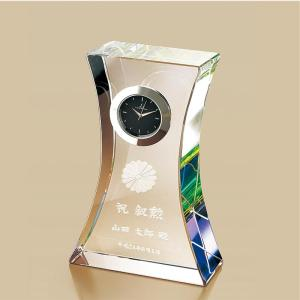 叙勲記念品 叙勲お祝い 「時計付ペーパーウェイト ルナプレシャスNo.2」 叙勲挨拶状付 お祝い品|syoubidou