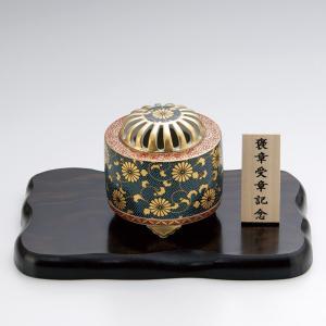 香炉 九谷焼香炉 青粒 菊紋入 木製平板8号付木箱入り|syoubidou