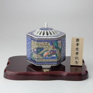 九谷焼 香炉 古九谷割取 木製トチ板付|syoubidou