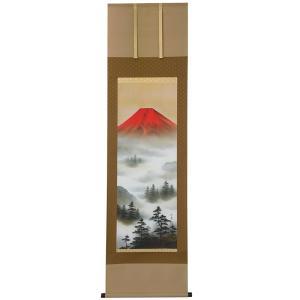 掛軸 赤富士山水 上野行安作|syoubidou