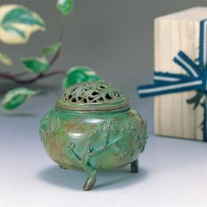 香炉 青銅製香炉 三友文 木製平板8号付桐箱入り|syoubidou