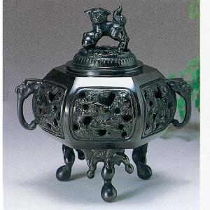香炉 青銅製香炉 六角透かし 木製平板10号付桐箱入り|syoubidou