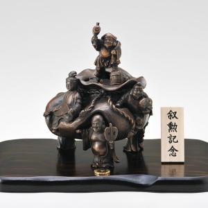 香炉 青銅製香炉 招福七福神 木製平板10号付桐箱入り|syoubidou