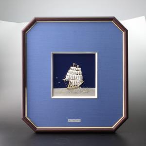 木製八角フレーム 純銀帆船7号 化粧箱入|syoubidou