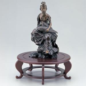 青銅製置物 天女 木製円卓花台付桐箱入り|syoubidou