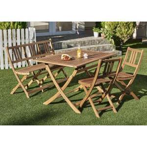 ガーデンテーブルセット アカシア天然木 エフィカ 4点セット(テーブル+チェア2脚+ベンチ1脚) ベンチ2Pタイプ W120|syougarden
