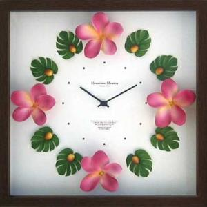 DISPLAY Clock Flower Orange Hawaiian / Plumeria Pink W320xH320xD55mm 1.1kg|syoukai-tv