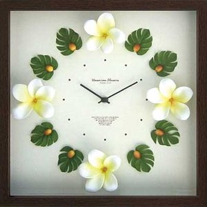 DISPLAY Clock Flower Orange Hawaiian / Plumeria Yellow W320xH320xD55mm 1.1kg|syoukai-tv