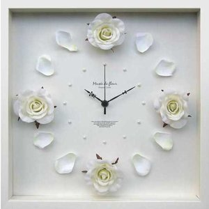 DISPLAY Clock Flower Rose / Cream W320xH320xD55mm 1.1kg|syoukai-tv
