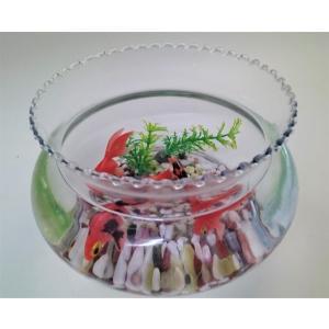 金魚鉢/金魚/出目金/可愛い金魚/癒し系/ガラス製金魚鉢(大)にエサのいらない金魚(出目金)セット/贈り物/プレゼント/うつわの翔山|syozan