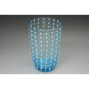 ガラス ガラス食器 食洗機対応タンブラー 手作りガラスコップ「白点ブルータンブラー」うつわの翔山|syozan