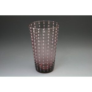 ガラス食器 食洗機対応タンブラー 焼酎コップ 手作りグラス 「白点入りハイボールブラウン」うつわの翔山|syozan