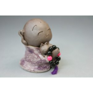 お地蔵さん 有田焼 置物 インテリア 雑貨  癒やしグッズ 猫を抱いたお地蔵さん紫 送料無料 定形外郵便|syozan
