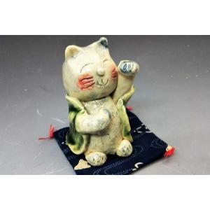 招き猫左 手づくり招き猫 織部 ねこの置物 可愛い猫 ねこグッズ ペーパーウエート 贈り物に プレゼントに  定形外郵便350円|syozan
