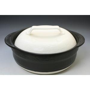 土鍋 萬古焼 2人〜3人用土鍋 ばんこ焼 国産超耐熱製8号土鍋 「白釉モダン」アウトレット商品|syozan