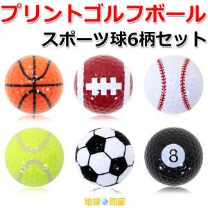 【倍!倍!ストアP5倍】 スポーツゴルフボール 練習用 観賞用 プリント球6柄セット