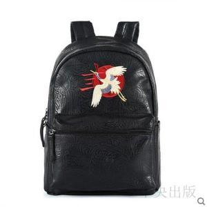 バックパック  メンズバッグ 刺繍リュック 個性的 リュック ブラック 派手 個性的 鶴刺繍 09|syu