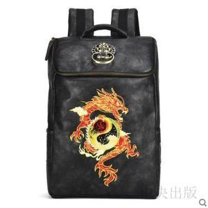 バックパック  刺繍バッグ メンズバッグ 個性的 リュック ブラック 派手 個性的 龍刺繍 金色獅子頭飾り08|syu