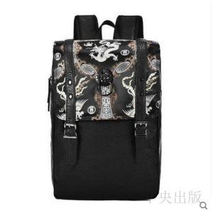 バックパック個性的 リュック ブラック 刺繍バッグ 派手 個性的  龍 フィニックス刺繍 獅子頭飾り07|syu