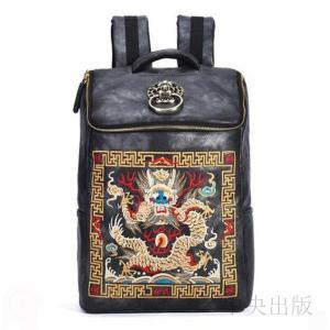 バックパック  個性的 リュック ブラック 派手 個性的 龍鶴刺繍 ゴールド獅子頭飾り02|syu