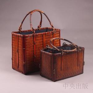 かごバッグ 手作りバッグ 高級 和風 竹編 収納 茶箱 収納ボックス 漆器 茶器 茶道具 工芸品7b|syu