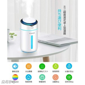 加湿器 卓上 2020年最新 超音波式 加湿器 超静音 車用加湿器 空気浄化機 除菌 二つ運転モード 七色LEDライト ペットボトル 小型 空焚き防止(mini9)|syu