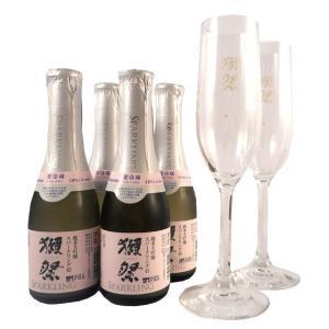獺祭 母の日 ギフト 日本酒 スパークリング 乾杯セット 小 純米大吟醸45発泡 180ml 4本とフルートグラス 2脚 山口県 旭酒造 クール便 送料無料|syurakushop