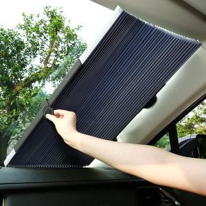 サンシェード 車 遮光 遮熱 自動伸縮 フロントサンシェード 吸盤式 遮光 UVカ ット 盗難防止 ...