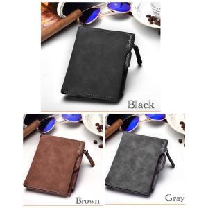 財布 二つ折り財布 ヴィンテージ レザー 革 札入れ 小銭入れ カード入れ ブラック メンズ 男女兼用 ブラック ブラウン グレー|t-a