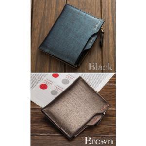 財布 二つ折り財布 お札入れ 小銭入れ カードケース フォトフレーム レザー コンパクト メンズ ウォレット ブラックネイビー ブラウンゴールド 2color|t-a