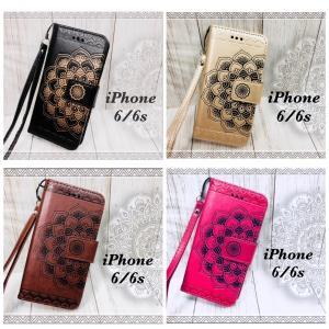 iPhone6 iPhone6s 手帳型ケース 光沢 花柄ケース オルテガ ネイティヴ ストラップ  液晶フィルム付き 黒色 茶色 ピンク ゴールド 4カラー|t-a