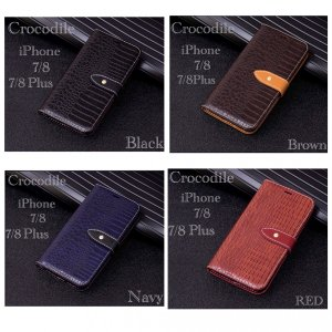 iPhone7/8 4.7 iPhone7/8plus 5.5   クロコダイル 革 手帳型ケース レザー 革 液晶フィルム  オシャレ  携帯ケース 4Color|t-a