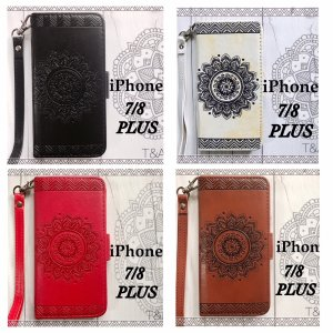 iPhone7Plus iPhone8Plusケース 手帳型ケース レザー 花柄 フラワー ネイティブ 液晶保護フィルム ストラップ付き スマホカバー 携帯ケース 4Color|t-a