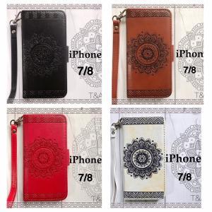 iPhone7 iPhone8 iPhone7Plus iPhone8Plus 手帳型ケース 花柄 フラワー ネイティブ エンボス型押し オルテガ 液晶保護フィルム 携帯ケース 4Color|t-a