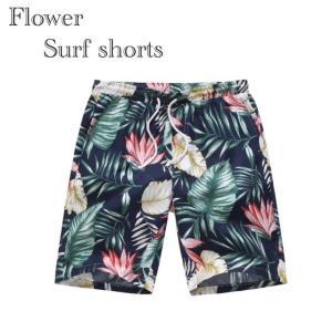 水着 サーフパンツ 花柄 フラワー メンズ インポート 海パン 海水パンツ 半ズボン ボトムス ハーフパンツ 水陸両用 Mサイズ Lサイズ|t-a
