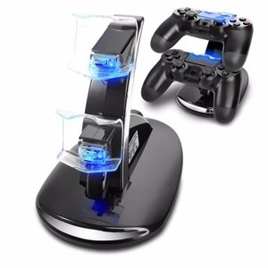 PS4コントローラー LED充電器  Playstation4 ワイヤレス コントローラー LED充電スタンド miniUSB 2台同時充電対応|t-a