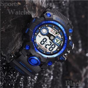 腕時計 スポーツ時計 デジタル時計 ミリタリー LED 耐久性 スポーツ  アウトドア ランニング アウトドア アクリルケース ブルー|t-a