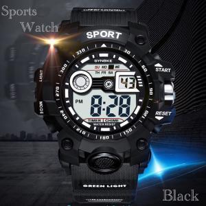 腕時計 スポーツ時計 デジタル時計 ミリタリー 耐久性 スポーツ  アウトドア ランニング アウトドア キャンプ アクリルケース ブラック|t-a