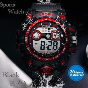 腕時計 スポーツ時計 デジタル時計 時計  ミリタリー LED 耐久性 スポーツ  アウトドア ランニング アウトドア アクリルケース レッド|t-a