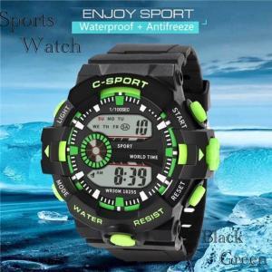 腕時計 スポーツ時計 デジタル時計 時計  ミリタリー LED 耐久性 スポーツ  アウトドア ランニング アウトドア アクリルケース グリーン|t-a