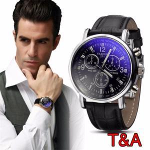 腕時計 メンズ  高品質 レザー 革 ベルト ビジネス アナログ クォーツ ウォッチ 軽量  オシャレ 時計 黒 人気ブランド |t-a