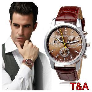 腕時計 メンズ  高品質レザー 革 ベルト ビジネス アナログ クォーツ ウォッチ 軽量  オシャレ 時計 茶 2 ブラウン 人気ブランド |t-a