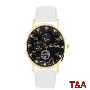 腕時計 メンズ  高品質 レザー 革 ベルト ビジネス ウォッチ 軽量 オシャレ 時計 白 人気ブランド ホワイト|t-a